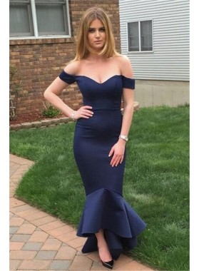 Sexy Trumpet/Mermaid Off The Shoulder Dark Navy 2019 Prom Dresses