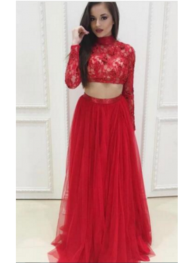 Red A-Line/Princess Long Sleeves Two Pieces Tulle Prom Dresses 2019