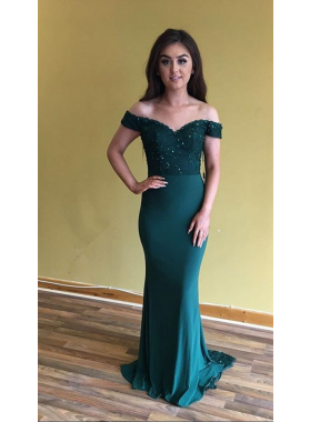 Cheap Sheath Off The Shoulder Satin Teal 2021 Prom Dresses