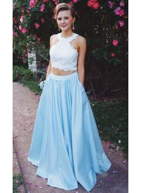 2021 New Arrival A-Line/Princess Satin Blue Two Pieces Prom Dresses