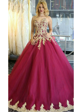 2019 Burgundy Sweetheart Tulle With Appliques Ball Gown Prom Dresses