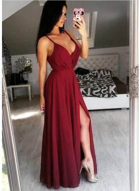 Cheap A-Line/Princess Sweetheart Burgundy Chiffon 2020 Prom Dresses
