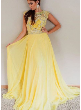 Cheap A-Line/Princess Daffodil Chiffon Beaded 2019 Prom Dresses
