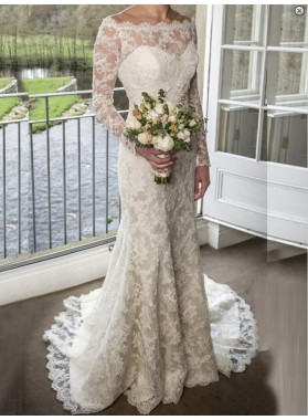 2021 Elegant Sheath Long Sleeves Lace Wedding Dresses