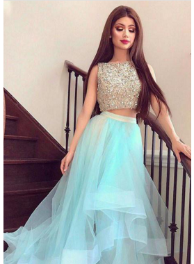 2019 A-Line/Princess Cheap Two Pieces Tulle Prom Dresses