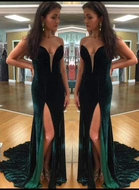 2019 Sheath Sweetheart Dark Green Velvet Prom Dresses