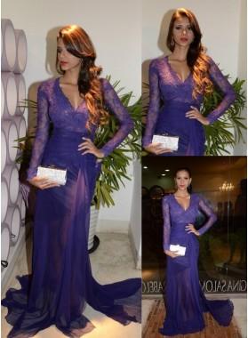 2019 Elegant Sheath Chiffon Purple Long Sleeves Lace Prom Dresses