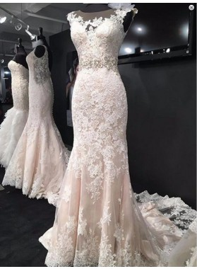Attractive Sheath Tulle With Appliques 2020 Wedding Dresses
