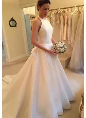 2020 Elegant A Line Satin Long Train Plain Wedding Dresses