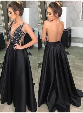 Charming A-Line/Princess Satin Backless Deep V Neck Black 2021 Prom Dresses