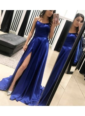 2020 Newly A-Line/Princess Side Split Haler Satin Royal Blue Prom Dresses