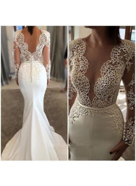 2020 Charming Mermaid Small Train Long Sleeves Lace Front Split Wedding Dresses
