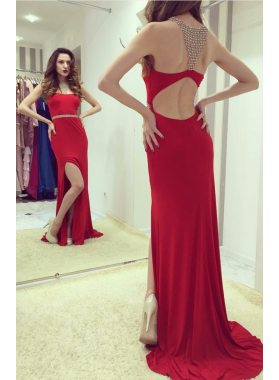 2019 Red Side Slit Spandex Prom Dresses With Beads