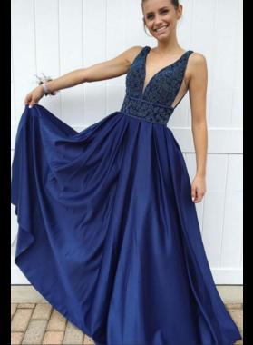 2019 Royal Blue A-Line/Princess Satin Sweetheart Prom Dresses