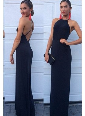 2021 Charming Sheath Backless Black Prom Dresses