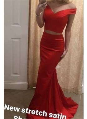 2021 Trumpet/Mermaid Red Two Pieces Satin Off The Shoulder Prom Dresses