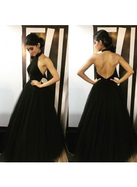 Charming A-Line/Princess Tulle Backless Jewel 2019 Black Prom Dresses