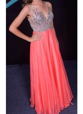Cheap A-Line/Princess Chiffon V Neck Beaded Coral 2019 Prom Dresses