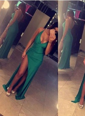 Sexy Backless Emerald Side Split 2019 Prom Dresses