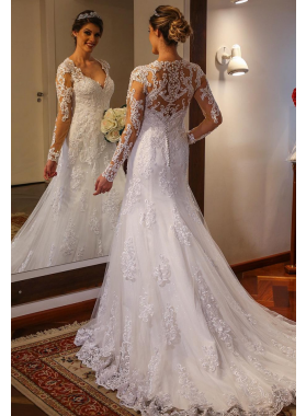 2020 A Line Long Sleeves Tulle With Appliques Sweetheart Wedding Dresses