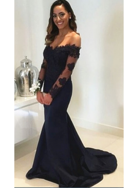 2021 Black Long Sleeves Off The Shoulder Trumpet/Mermaid Prom Dresses