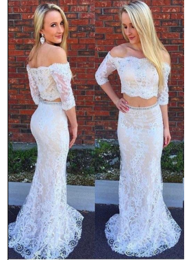 2021 White Sheath Long Sleeves Two Pieces Lace Prom Dresses
