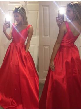 Cheap A-Line/Princess Satin V Neck 2019 Red Prom Dresses