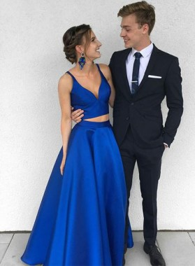 A-Line/Princess Satin Royal Blue Satin Two Pieces 2021 Prom Dresses
