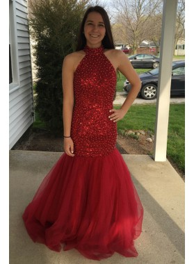 Sexy Trumpet/Mermaid Red Backless Beaded 2021 Prom Dresses