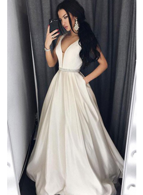 Cheap A-Line/Princess Sweetheart Satin Ivory Prom Dresses 2019