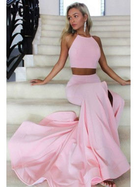 Charming Trumpet/Mermaid Pale Pin Satin Two Pieces 2021 Prom Dresses