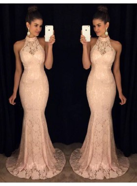 Sexy Trumpet/Mermaid Pearl Pink Lace 2021 Prom Dresses