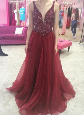 2019 Chiffon A-Line/Princess Burgundy Beaded V Neck Prom Dresses