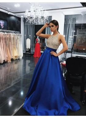 Charming Satin Royal Blue Beaded 2021 A-Line/Princess Prom Dresses
