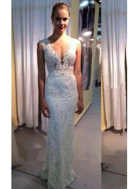Sheath V Neck 2021 Floor Length Wedding Dresses