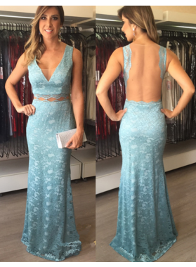 2019 Sheath Lace Blue V Neck Prom Dresses