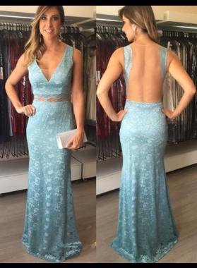 2019 Sheath Lace Blue V Neck Prom Dresses