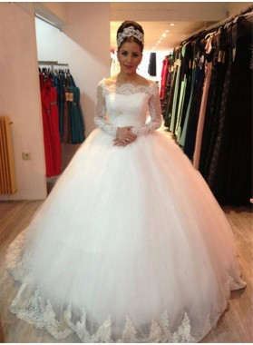 2020 White Long Sleeves Off The Shoulder Ball Gown Wedding Dresses