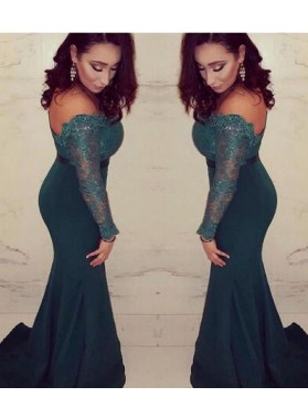 Sexy Trumpet/Mermaid Dark Green Long Sleeves Off The Shoulder 2021 Prom Dresses