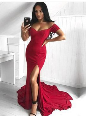 Sexy Trumpet/Mermaid Off The Shoulder Spandex Side Slit 2020 Red Prom Dresses