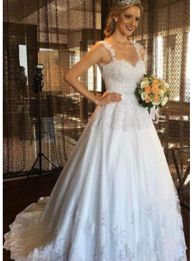 Classic A Line Sweetheart With Straps 2021 Wedding Dresses With Appliques