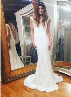 2019 Sexy Trumpet/Mermaid V Neck Elastic Satin White Prom Dresses