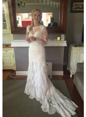2021 Newest Sheath Lace Long Sleeves Sweetheart Wedding Dresses