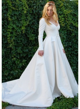 Cheap A Line Satin Long Sleeves Plain Wedding Dresses 2021
