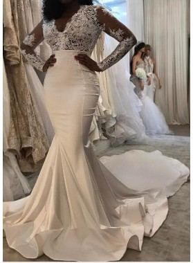 Sexy Mermaid Long Sleeves Satin And Lace 2020 Wedding Dresses