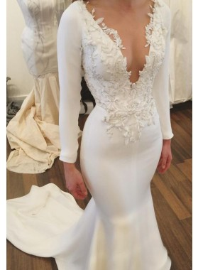 Sexy Mermaid Satin Split Front V Neck With Appliques 2021 Long Sleeves Wedding Dresses