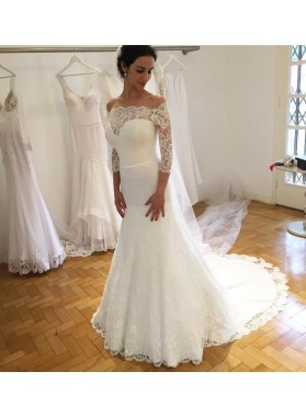 2020 Elegant Sheath Sweetheart Lace Long Sleeves Wedding Dresses
