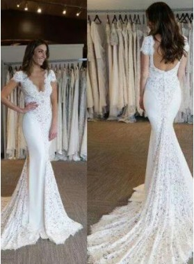 Sexy Mermaid Lace Capped Sleeves 2019 Backless Wedding Dresses