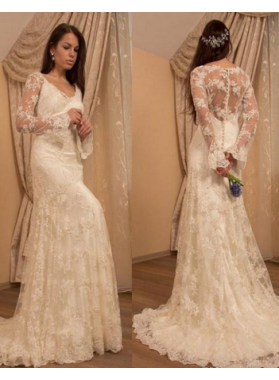 2021 New Arrival Sheath Small Train Wedding Dresses With Sleeves