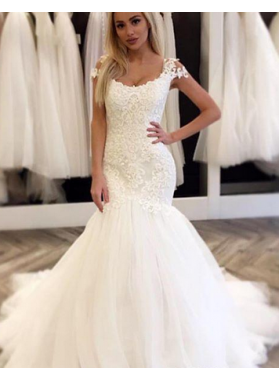 Attractive Mermaid Tulle Wedding Dresses 2021 With Capped Sleeves